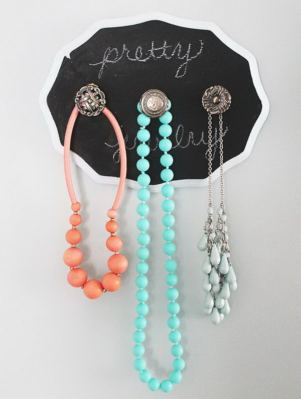 DIY Shabby Chic Jewelry Holder With Chalkboard Paint