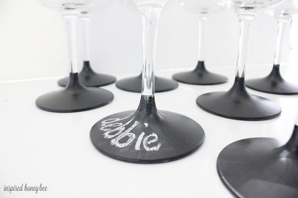 Use chalkboard dipped wine glasses to help distinguish whose is whose