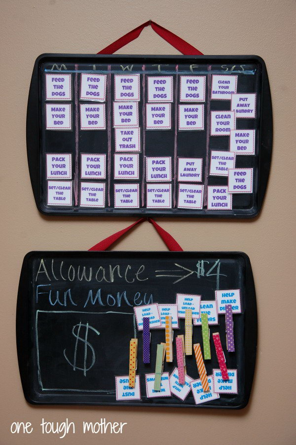 Turn cookie sheets into cool chalk chore charts