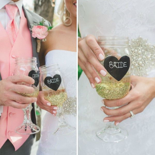 Mason Jar Bride + Groom Glasses.