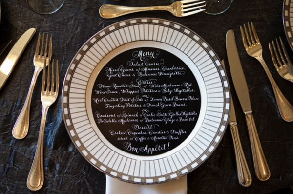 Black Menu with White Script.