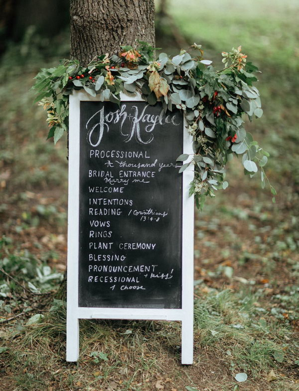 Chalkboard Program with Florals.