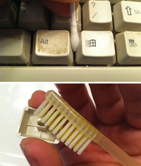 Clean Keyboards With Old Toothbrushes And Wet Cotton Swabs