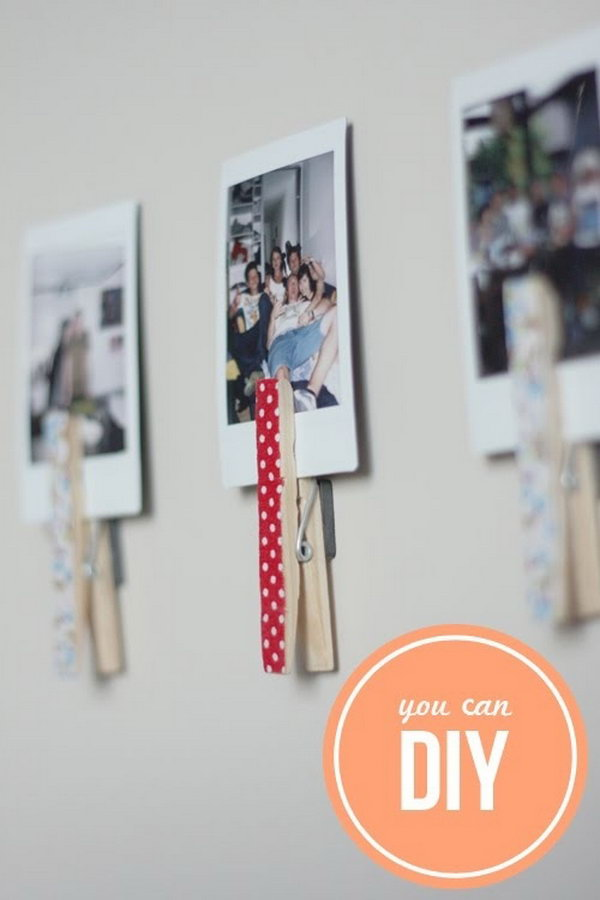 DIY Washi Tape Clothes Pin Magnets.