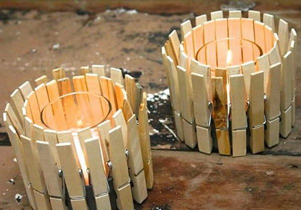 DIY Clothespin Candle Holder.
