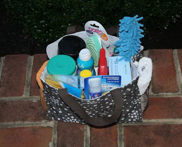 College Care Box Filled with Cleaning Supplies