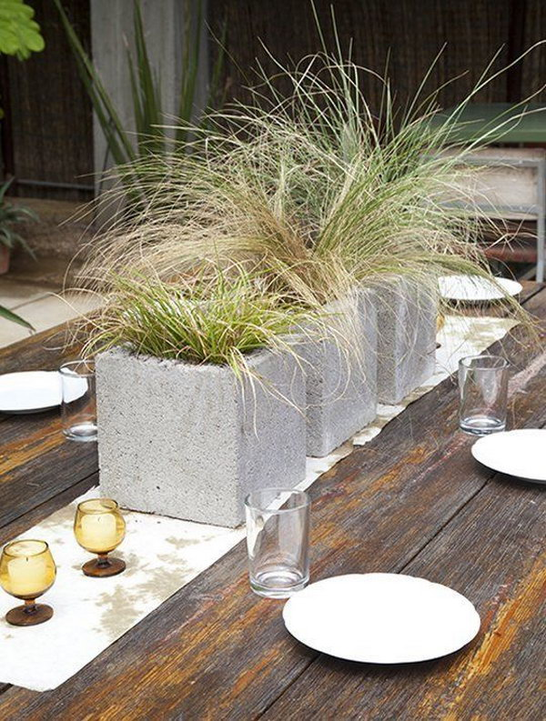 Modern Grassy Centerpieces in Cinder Blocks.