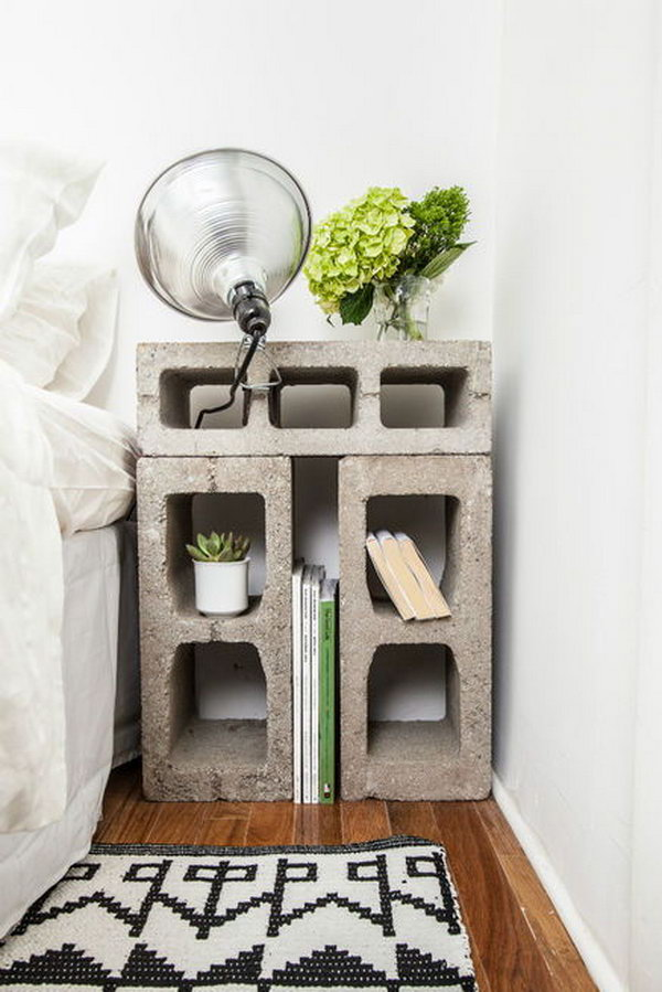 Concrete Block Nightstand.