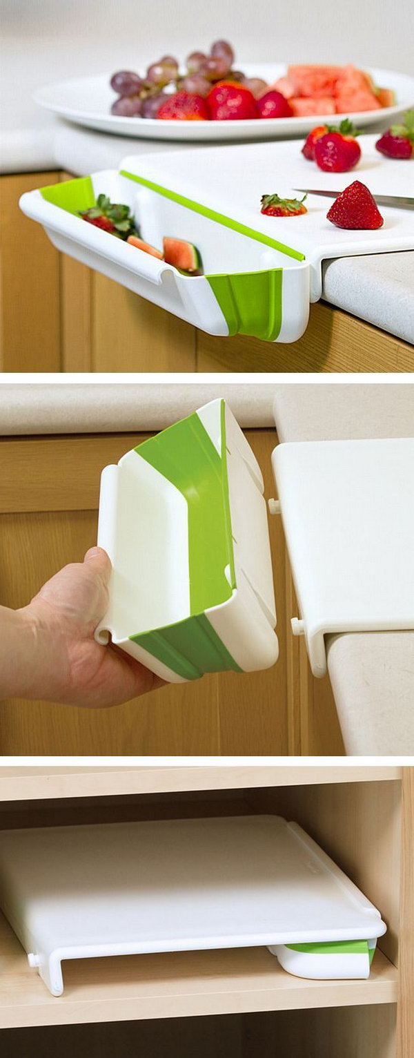 Cutting Board with a Collapsible Bin on the Side to Catch the Scraps.