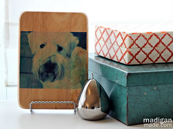 Adorable Puppy Photo Cutting Board. A genius idea to reuse your old cutting board in a more artistic way. See the steps
