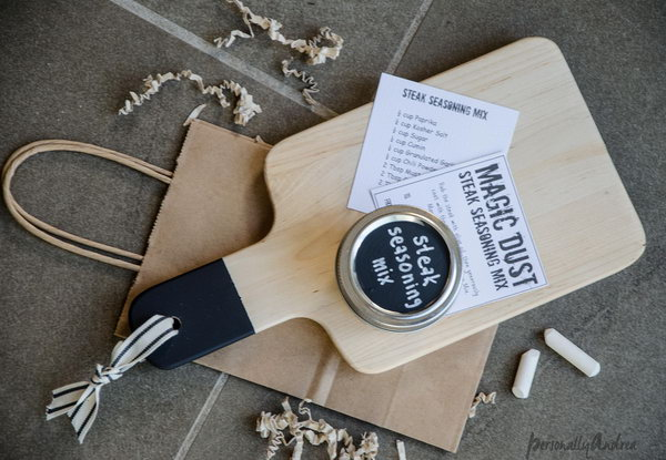 Chalkboard Handle Cutting Board. Personalized the plain cutting board  with some chalkboard paint and a ribbon. Get the tutorial