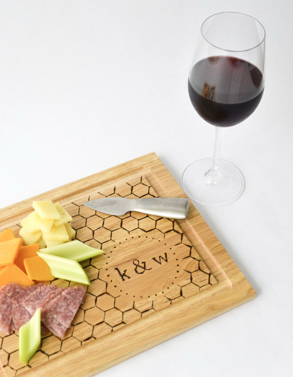 DIY Monogrammed Cutting Board. The monogrammed design of this cutting board gives a fun touch of personality. Check out the full tutorial