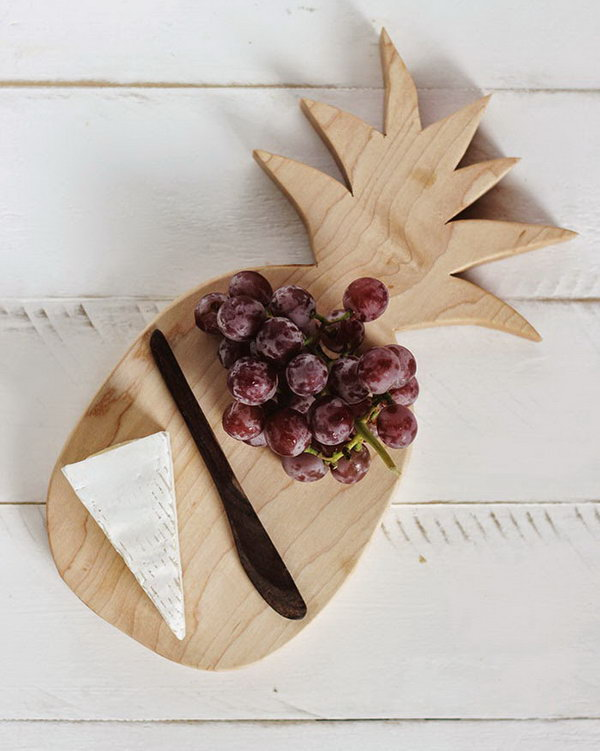 Pineapple Shaped Cutting Board. Such a unique cutting board in the shape of pineapple, and it adds more style to your kitchen. Get the tutorial