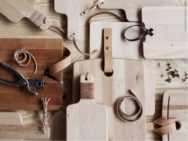 IKEA Hack for Cutting Board with Elegant Leather Accents. See more details