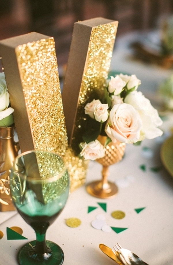 Decorating with Glitter letter.