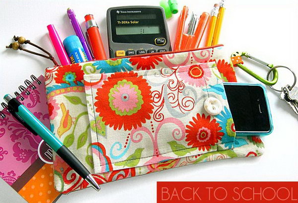 Zippered Pencil & School Supplies Case