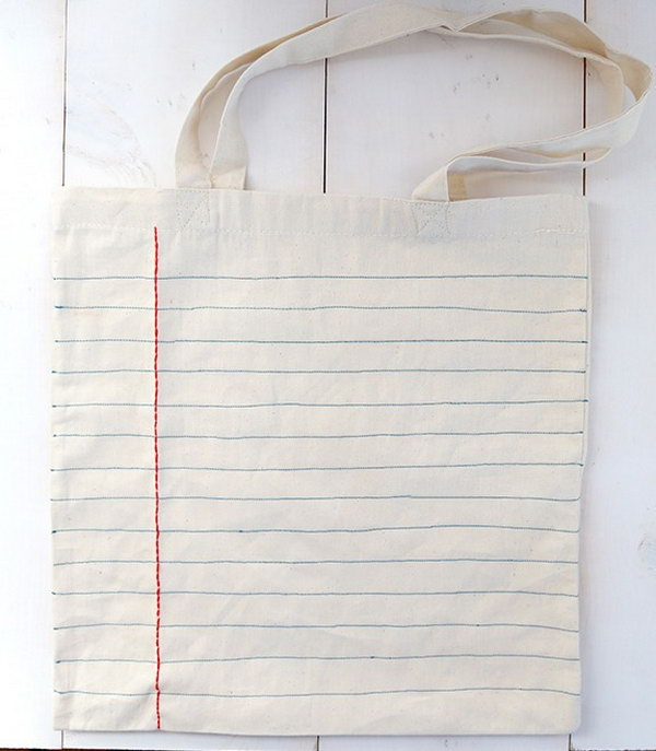 DIY Notebook Sewn Canvas Tote Bag