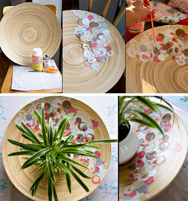 DIY Decoupage Scrap Paper Bowl.