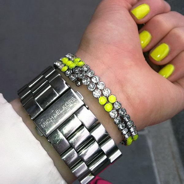 Slap Dash Painted Crystals Bracelet