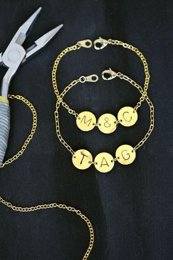 Stamped Initial Bracelet