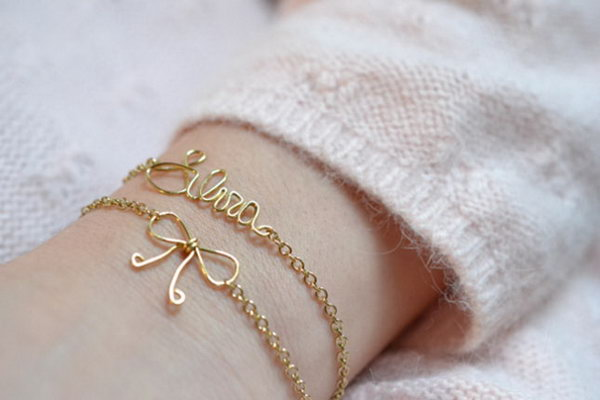 Name and Bow Wire Bracelet