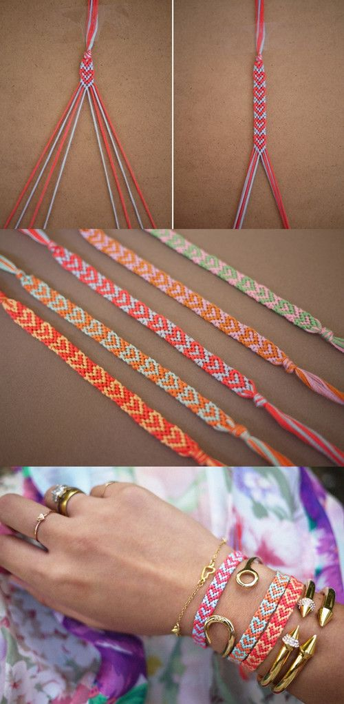Beautiful Woven Heart Friendship Bracelet. Get the step by step tutorial with a lot of pictures.