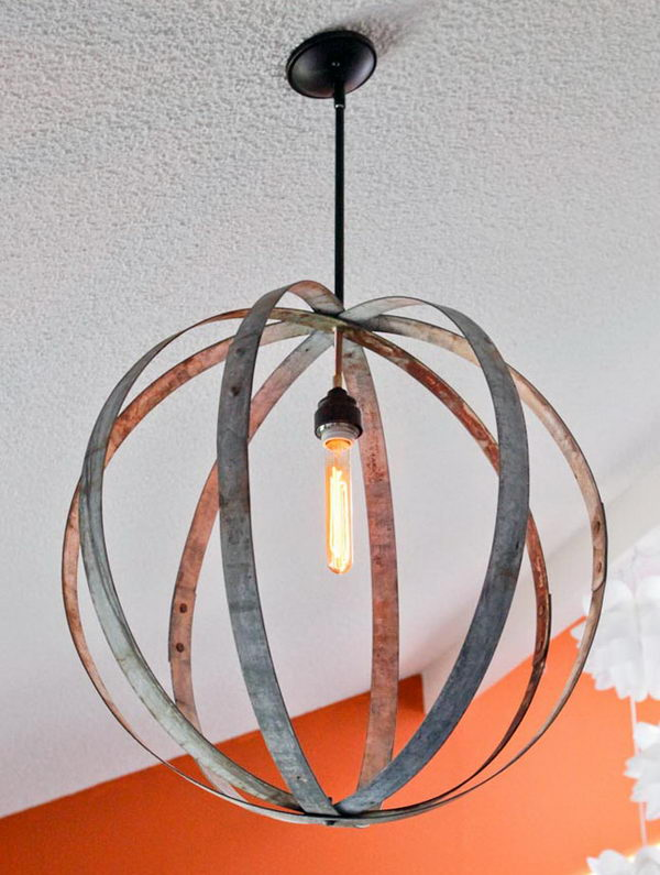 Wine Barrel Ring Chandelier.