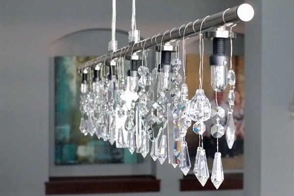 Linear and Crystal Chandelier.