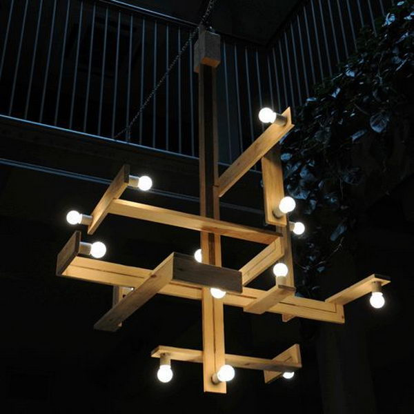 Wood Pallets Chandelier.