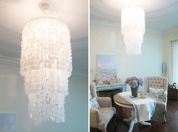 . DIY Capiz Chandelier. See the tutorial