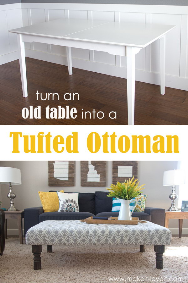 Turn an Old Table into a Tufted Fabric Ottoman