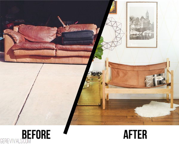 Upcycle Ugly Sofa Into Leather Safari Sling Bench