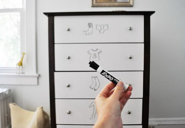 Dresser Drawers Makeover With Dresser Dry Erase Paint
