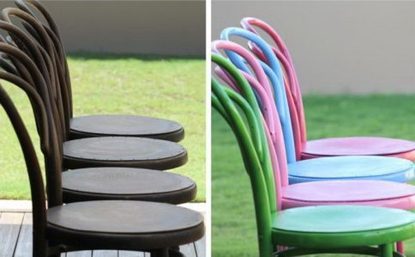 Lovely Spray Painted Chairs That Can be Used at Kitchen Table