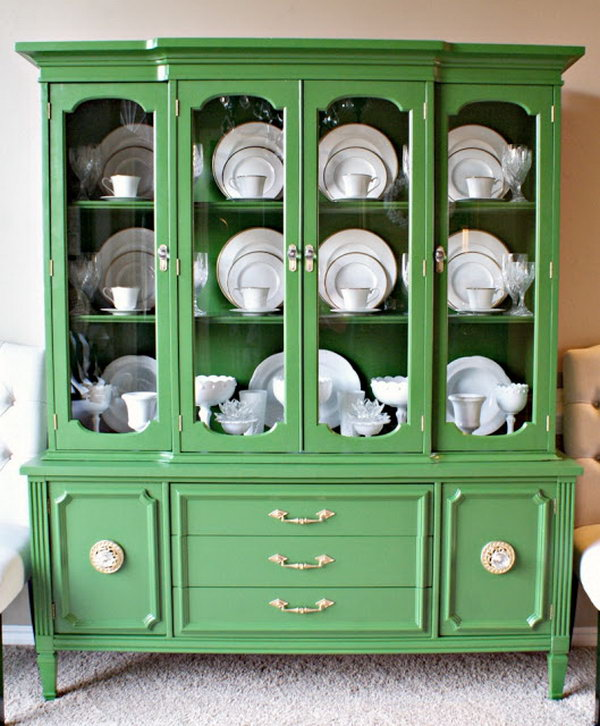 Green China Cabinet Makeover
