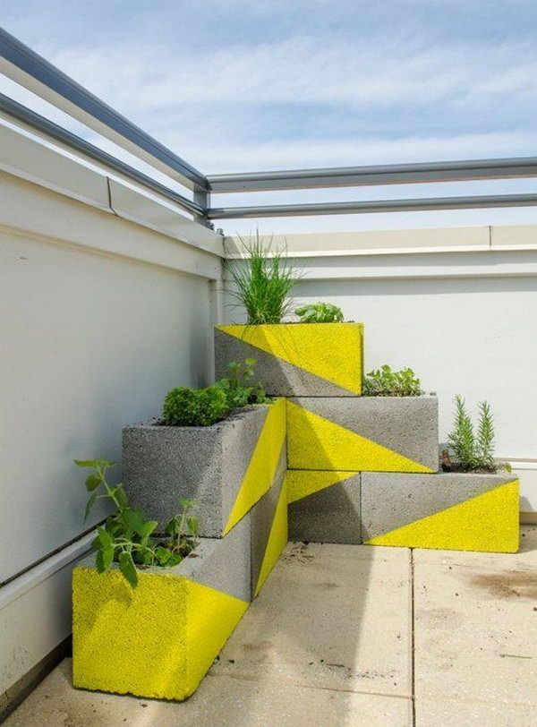 DIY Neon Concrete Block Planter. See the tutorial