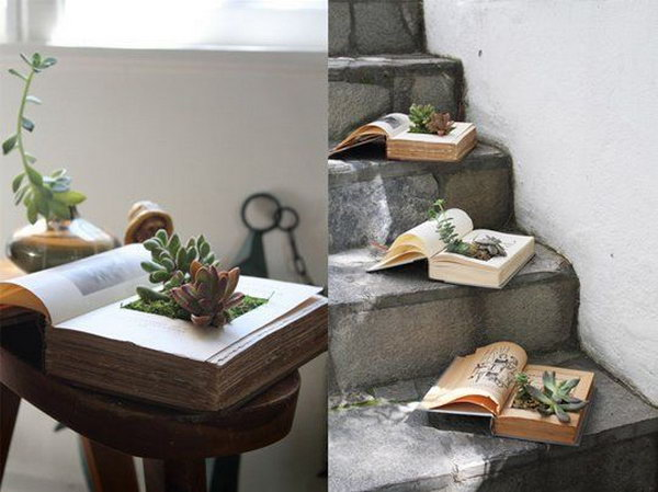 DIY Vintage Book Succulent Planters. Get the tutorial