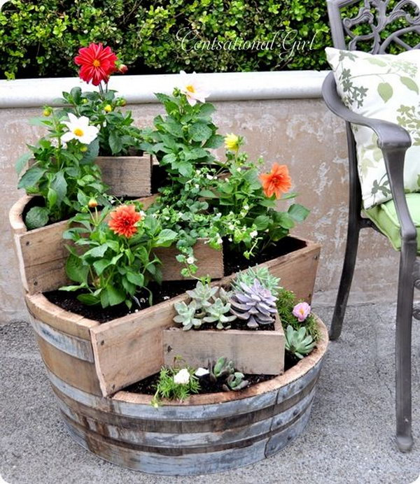 DIY Recycled Wine Barrel Planter. See the tutorial