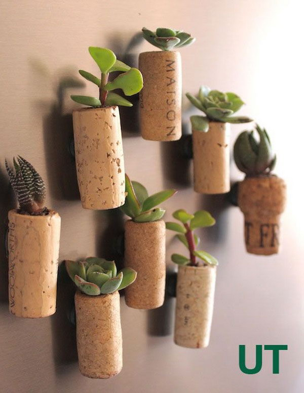 Mini Wine Cork Succulent Planters. See the tutorial