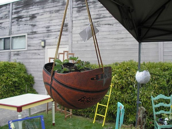 Basketball Hanging Planter.