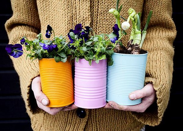 olorful Tin Can Planters for Spring. Check out the direction