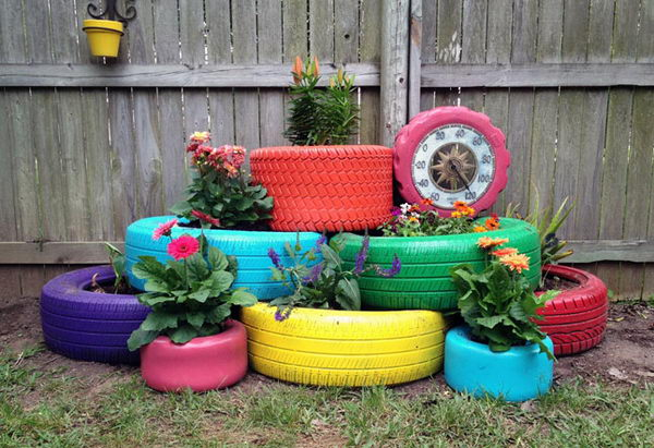 Painted Tire Planters.