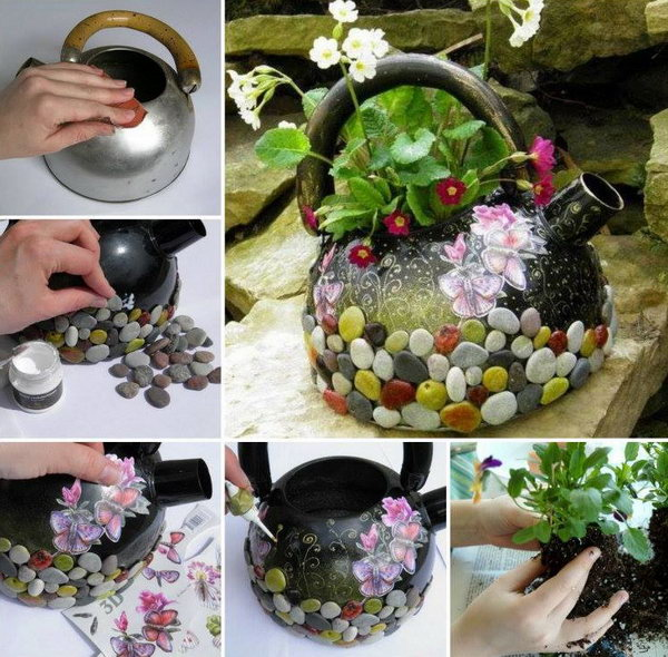 DIY Recycled Kettle Planter. See the tutorial