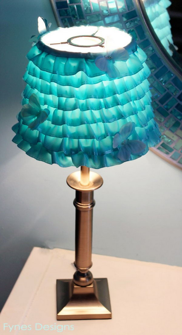 DIY Ribbon Lampshade. Check out the steps