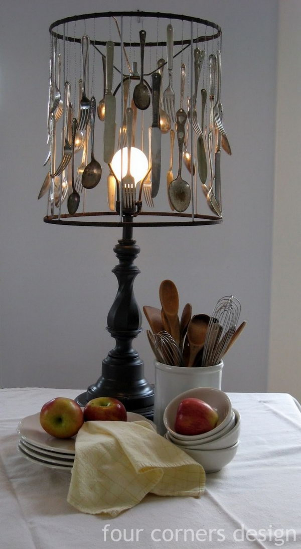 Silverware Lampshade. See the details