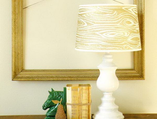 Woodgrain Glitter Lampshade. Check out the steps