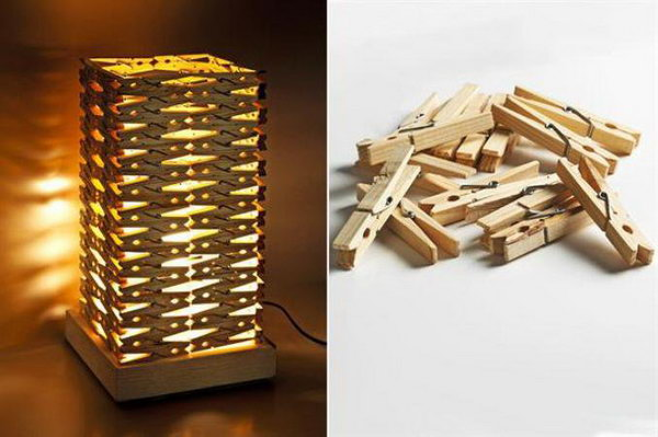 DIY Clothespin Lampshade. See more