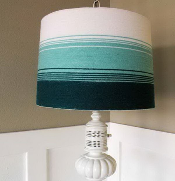 Yarn Wrapped Lampshade. Check out the steps