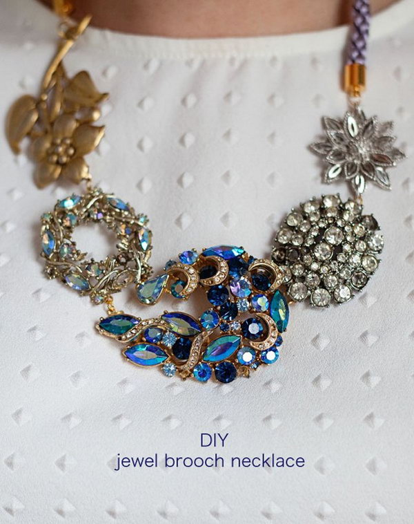 DIY Jewel Brooch Necklace