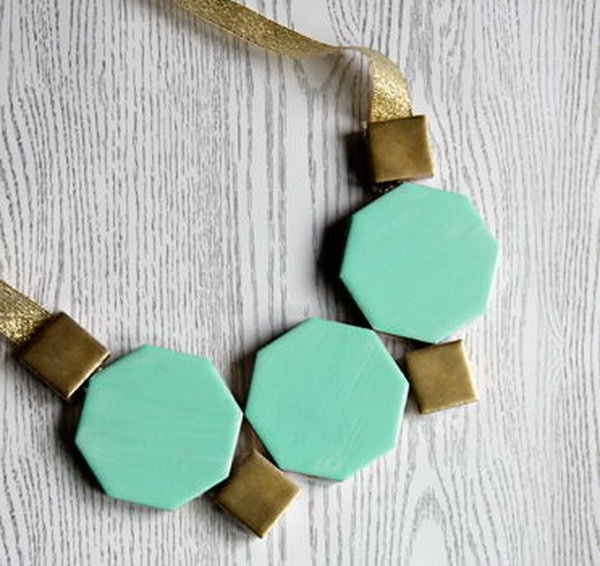 Geometric Tile Gem Necklace